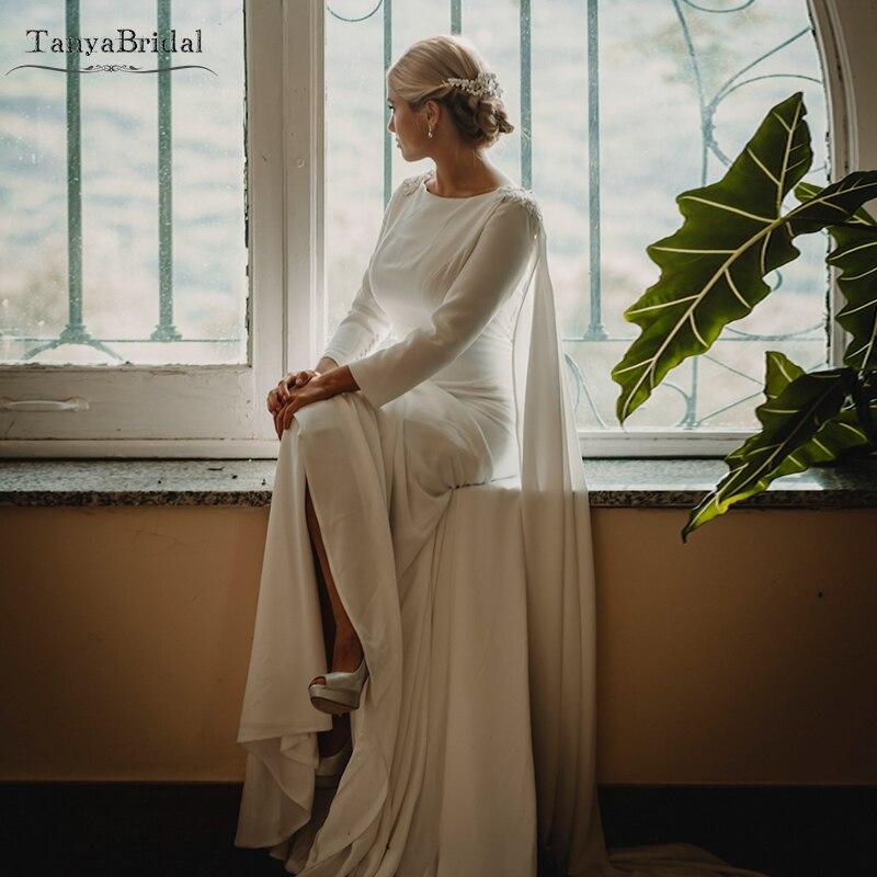 Fantasy Wedding Dress With Cape Soft Satin Simple Tradition Refined Bridal Gown Beaded Vestido De Noivas  DW234