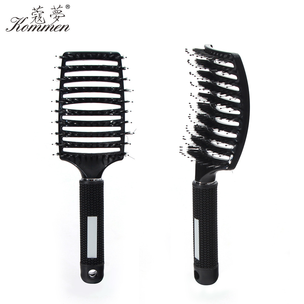 Manufacturers Direct Selling Bristle Big Curved Comb Hair Dressing Salon Only Comb Silicone Handle Easy Grip Comb Currently Avai
