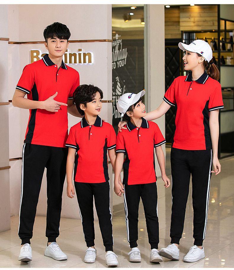 Summer New Style Pure Cotton Men And Women Couples Parent And Child Set Junior High School Uniform Business Attire Groups Short