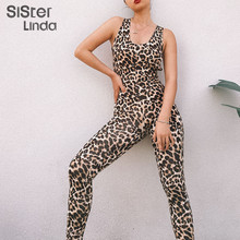 Sisterlinda Sexy Hollow Out Print Jumpsuits Women Elastic Skinny Fitnees Sporting Bodysuit 2019 Fall Back Bandage Rompers Mujer