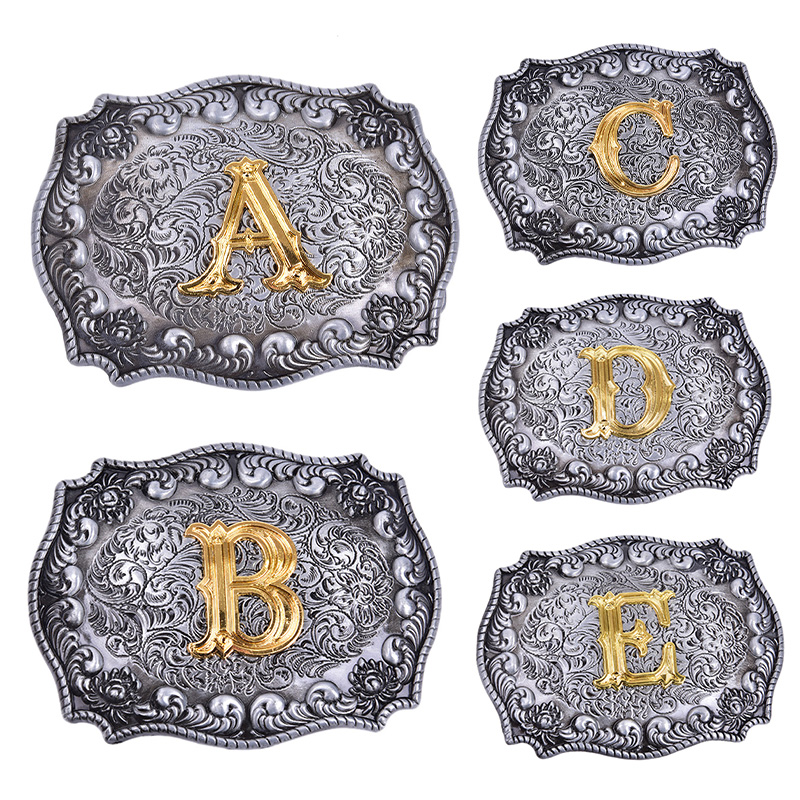 1pcs Retro Cowboy Belt Buckle With Initial Letter  Belt Buckle Head Suit Belt New Year Gifts