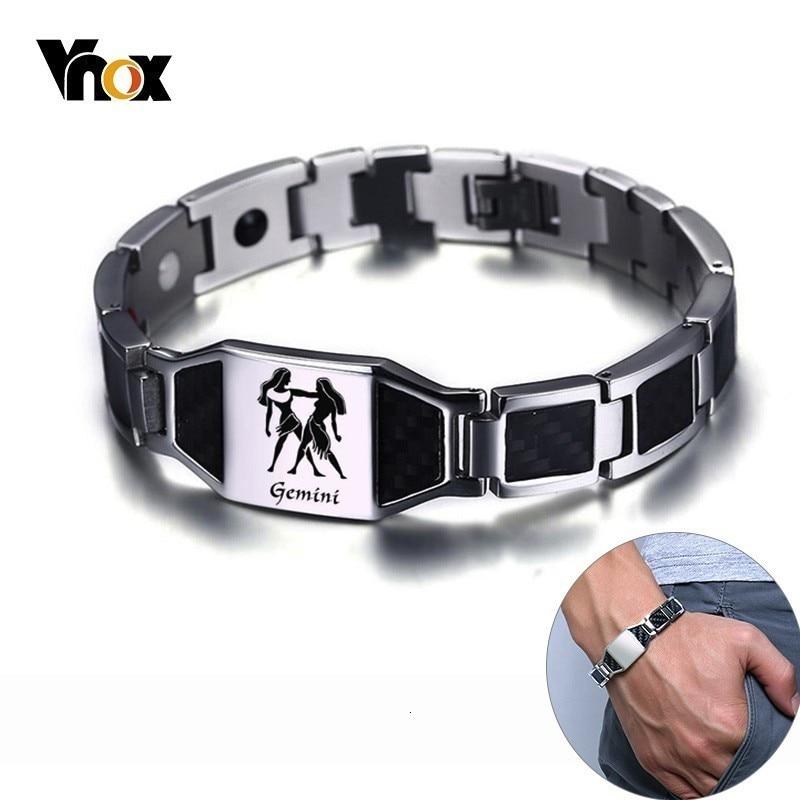 Vnox Gents Carbon Fiber Bracelets for Men Twelve Constellation Gemini Leo Engraved Stainless Steel Bio Energy with tool