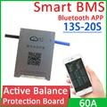 Умная плата защиты аккумулятора с активным балансом от 13S до 20S, плата Bluetooth APP BMS 14S 16S 17S 60A Lifepo4 Li-Ion LTO 48 в 60 в 72 в