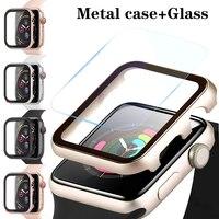 Caja de Metal + vidrio forApple accesorios de parachoques + funda protectora de pantalla apple watch 44mm 40mm 42mm 38mm serie 3 6 iPhone 5 4