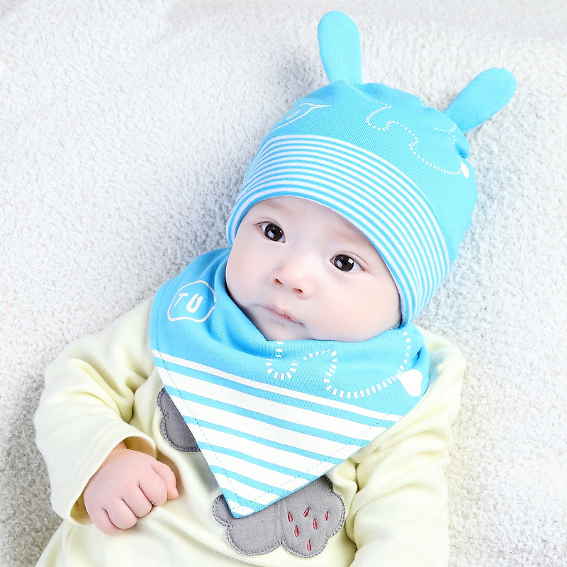 MZ4342 Moon And Good Spring New Style Korean-style Rabbit Ears Set Of Head Cap Set Fashion Baby Hat Two Piece Set