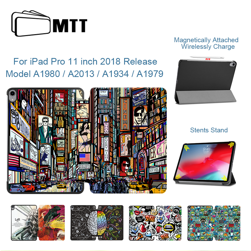 MTT Graffiti <font><b>Case</b></font> For <font><b>iPad</b></font> Pro 11 inch 2018 Slim PU Leather Magnetic Flip Fold Stand Cover Tablet <font><b>Case</b></font> <font><b>A1980</b></font> A1934 A1979 A2013 image