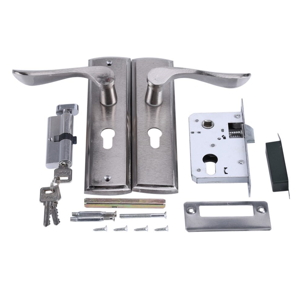 Silver Durable Door Handle Lock Cylinder Front Back Lever Latch Home Security W/ Keys Solid Square Tongue Interior Door Lock