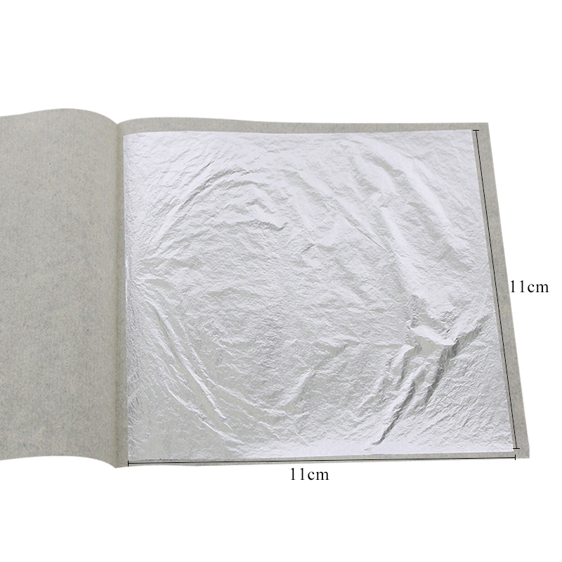 Edible Silver Leaf Real Silver Foil 100pcs 11x11cm For Female Cosmetics Food Decoration Arts And Crafts Paper Edible Sheets