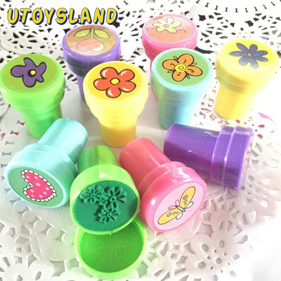 10Pcs Flower Stamps Set Stationery For Kids Gift DIY Diary Decorative Party Toy Stamp Toy - Color Random