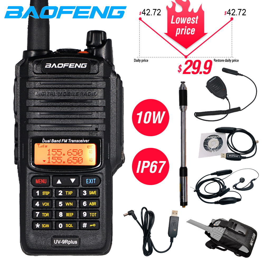 Powerful 10W Baofeng UV-9R Plus Waterproof Walkie Talkie Portable CB Ham Radio 10KM Long Range Dual Band Hf Transceiver Transmit