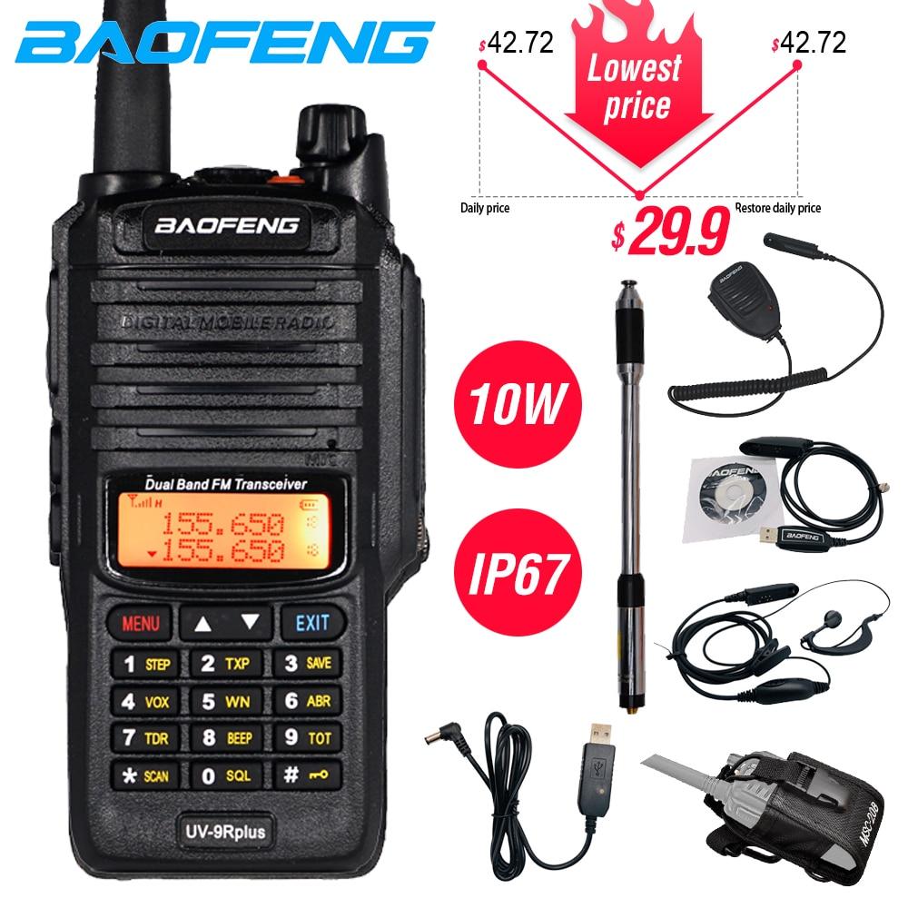 Powerful 10W Baofeng UV-9R Plus Waterproof Walkie Talkie Portable CB Ham Radio 10KM Long Range Dual Band Hf Transceiver Transmit