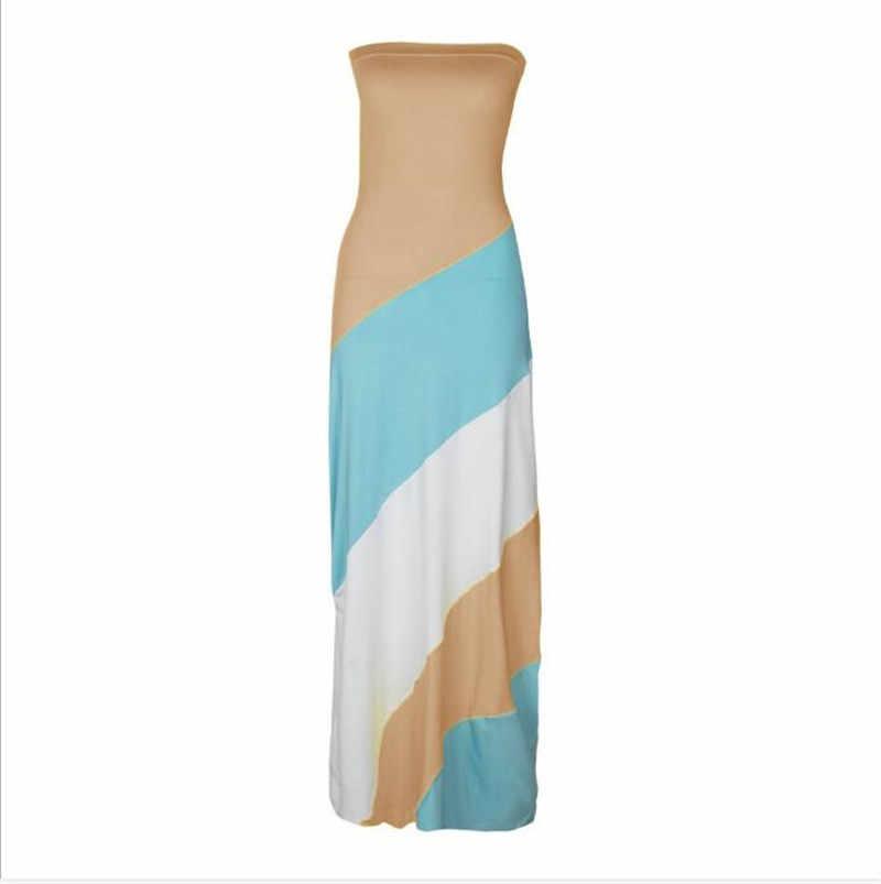 Women Long Dress Color Matching Design Strapless Summer Slim Dress Fashion Ladies Comfortable Dress for Streetwear