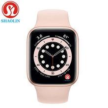 Shaolin original relógio inteligente série 6 bluetooth smartwatch para apple ios iphone android telefone inteligente não relógio de maçã (botão vermelho)