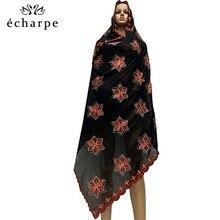 Bufandas musulmanas de algodón con bordado, bufandas africanas para mujer, pañuelo para la cabeza con piedras, 100%