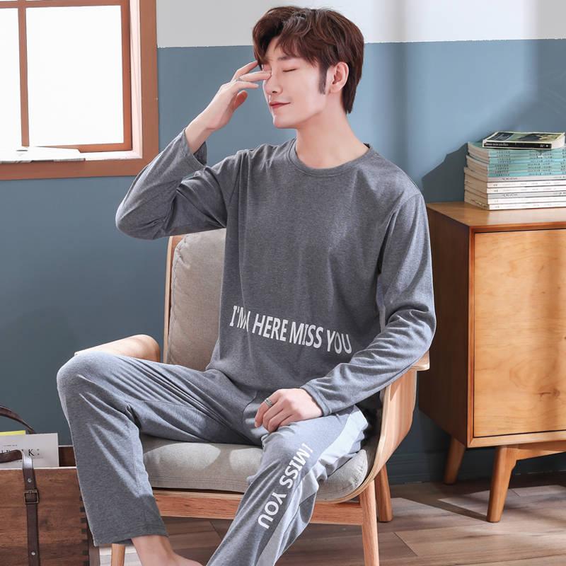 Spring Autumn Men Cotton Pajamas Set Plus Size 4XL Sleepwear Pyjama Casual Pijama Hombre Nightwear Long Sleeve Homewear