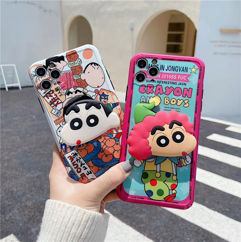 Cartoon Crayon Shin-Chan Clown Boy Soft Phone Case For Apple Iphone 12 Mini 11 Pro MAX X XS XR 7 8 Plus Fold Bracket Cover Coque