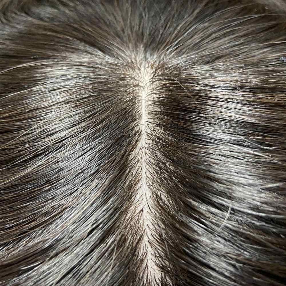 Ks Pruiken 5*5.5 ''Zijde Basis Topper Pruik Ademend U Stijl Fijne Mono Netto Met Clip In Haar toupet Remy Haarstukje 150% Dichtheid