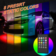 4 Pieces 180 LED Car Underglow Flexible Strip RF Voice Remote Control Decorative Atmosphere Lamp Under Tube Underbody Light Kit цена