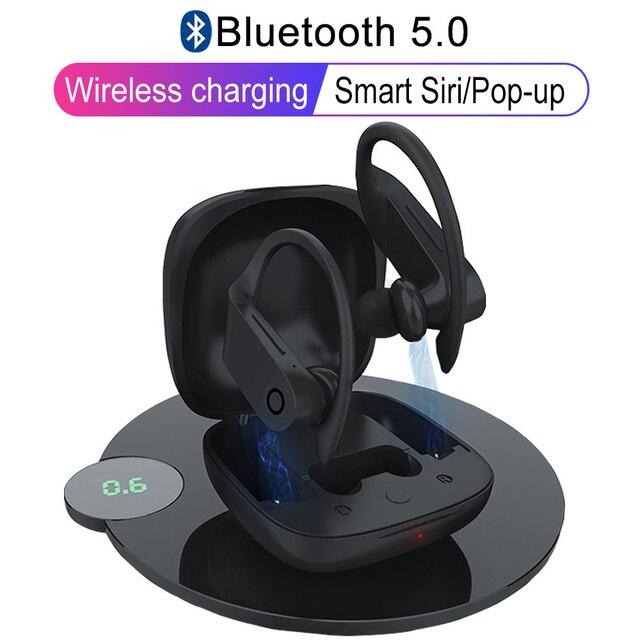 B10 verdadeiro tws sem fio bluetooth 5.0 fones de ouvido esportes gancho waterprof carga sem fio fone estéreo pk q62