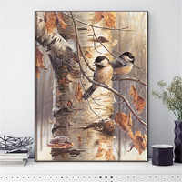 HUACAN Cross Stitch Needlework Sets For Full Embroidery Kits Tree And Bird Animals White Canvas 14CT DIY Home Decor 40x50cm