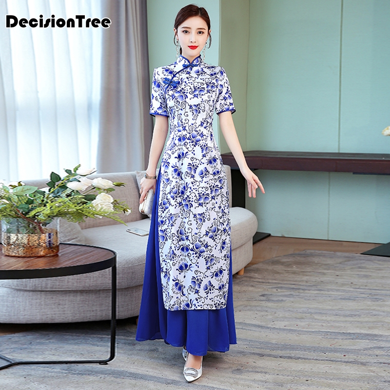 2019 Vintage Casual Retro Cheongsam Ao Dai Dress Ao Dai Vietnam Floral Print Fake Two Pieces Women Vietnam Traditional Dress