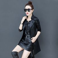2020 spring and autumn new women's jacket PU leather clothing women's vest leather vest mid length jacket motorcycle clothing