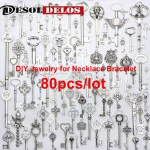 80pcs/lot Vintage Charms Mixed Keys Pendant Tibetan Silver key charms Fit Bracelets Necklace DIY Metal Jewelry Making