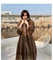 Women imported velvet natural mink fur overcoat hooded female mink coat long style winter fur outerwear