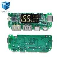 GREATZT LED Dual USB 5V 2.4A Micro/type-c USB Mobile Power Bank 18650 modulo di ricarica batteria al litio caricabatterie circuito Prot