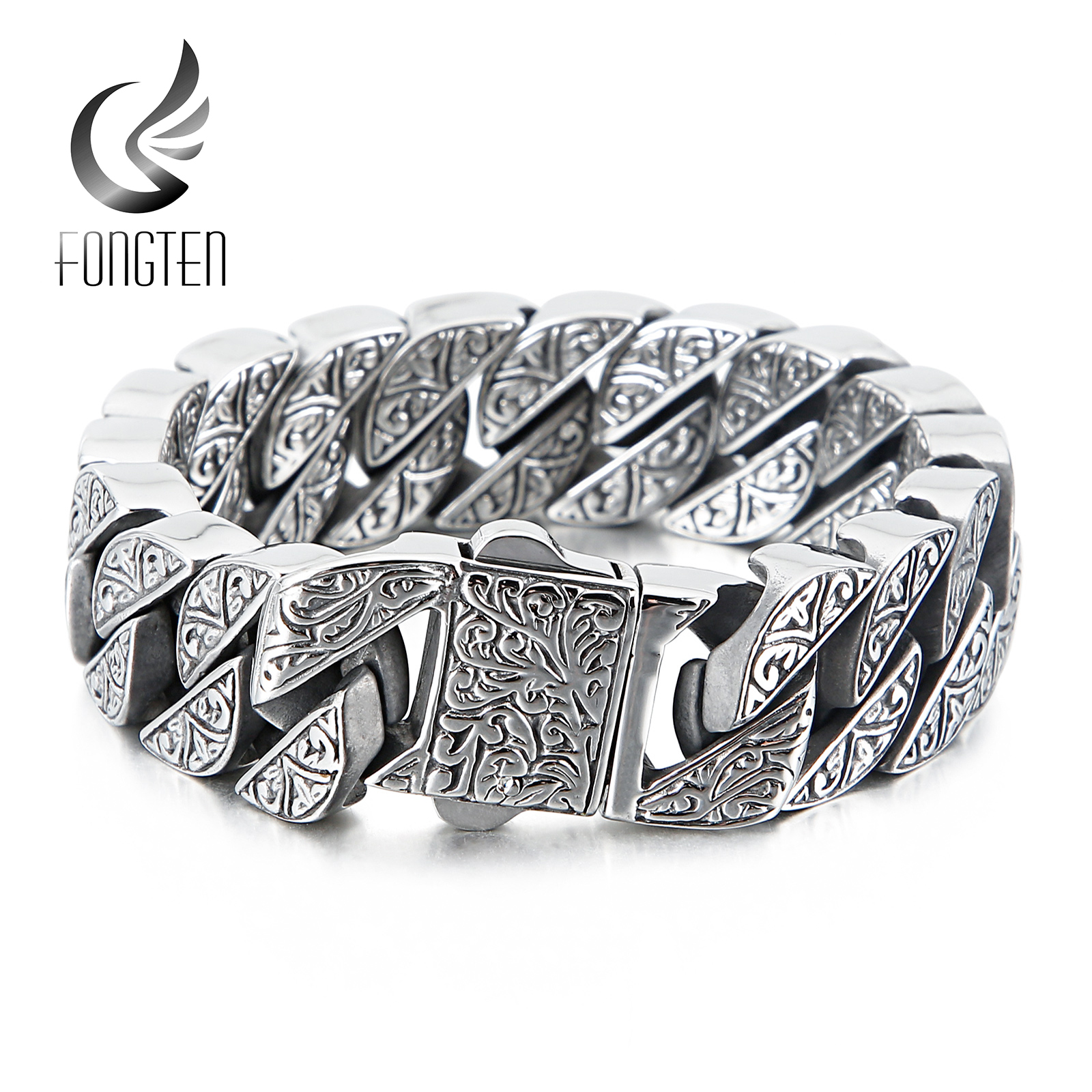 Fongten Vintage Style Bracelet Men's Unique Carving Cuban Link Chain Stainless Steel Men Bracelets Bangle Fashion Jewelry