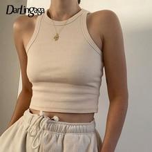 Darlingaga Casual Ribbed Knit Solid Bodycon Tank Top Slim Basic Sleeveless Crop Top Women Fashion Vest Summer Tops Clothes 2020