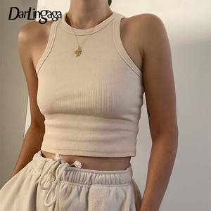 Darlingaga Casual Ribbed Knit Solid Bodycon Tank Top Slim Basic Sleeveless Crop Top Women Fashion Vest Summer Tops Clothes 2020