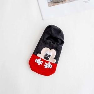 Image 5 - Dinsey 여름 캐주얼 여성 양말 한국 여성 동물 만화 마우스 발목 양말 귀여운 보이지 않는 양말 얇은 면화 stopki 보트 양말