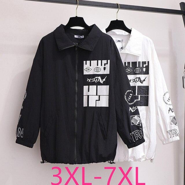 2020 Lente Herfst Plus Size Jas Voor Vrouwen Grote Casual Losse Lange Mouwen Print Revers Rits Jassen Wit 3XL 4XL 5XL 6XL 7XL