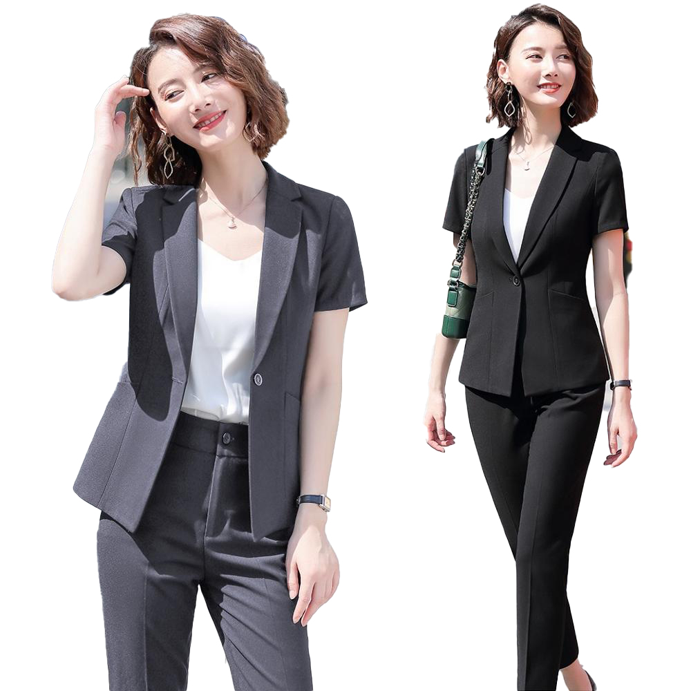 New Female Elegant Formal Office Work Wear Ladies Pant Suit For Women Business Black Blazer And Jacket Sets Clothes Short Sleeve