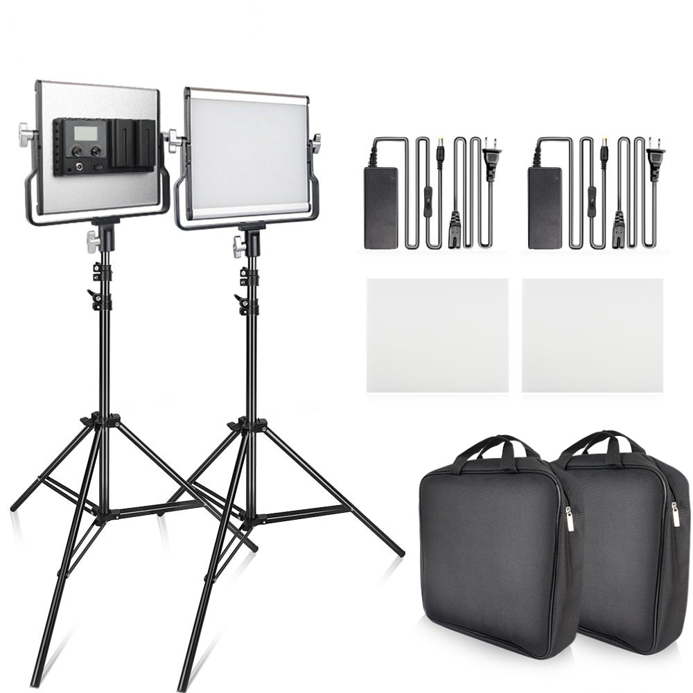 <font><b>L4500</b></font> Video Light Kit LED Panel Light Kit Dimmable Bi-color 3200-5500K Studio Photography Light with Tripod image