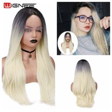 Wignee Synthetic Wig Glueless Long White/Black Hair Heat Resistant Lace Front Daily Wig For Women Fake Cosplay Natural Wave Wigs african american synthetic hair wigs glueless lace front wig natural soft synthetic lace front wig for black women free shipping