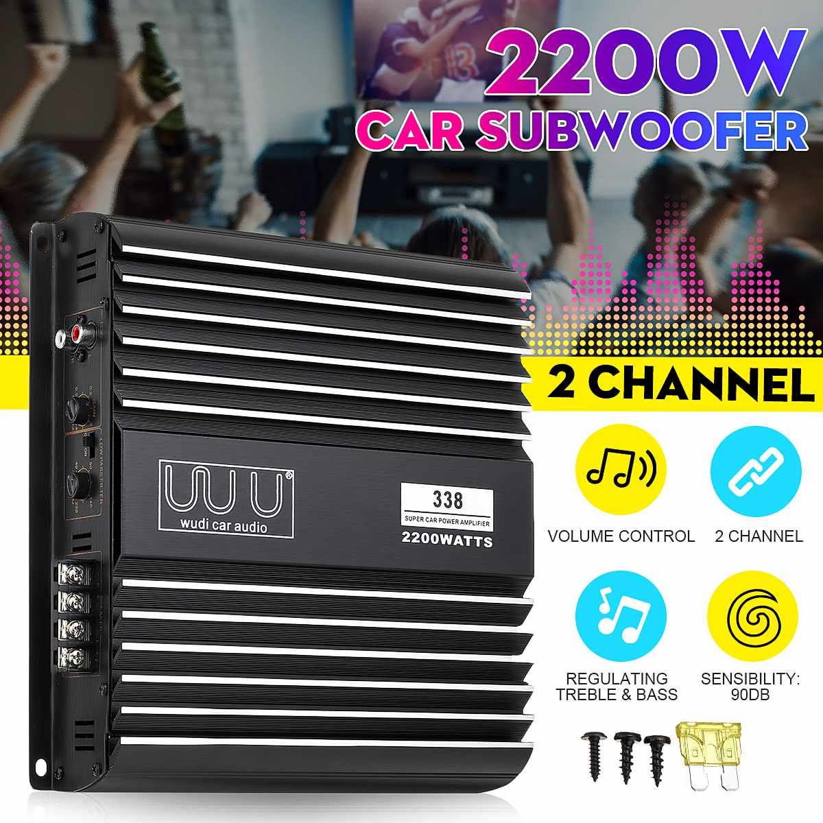 2 Channel 2200W Car Audio Amplifier Vehicle Car Amplifiers Speaker Stereo Audio Super Bass Subwoofer Prower Auto Amp