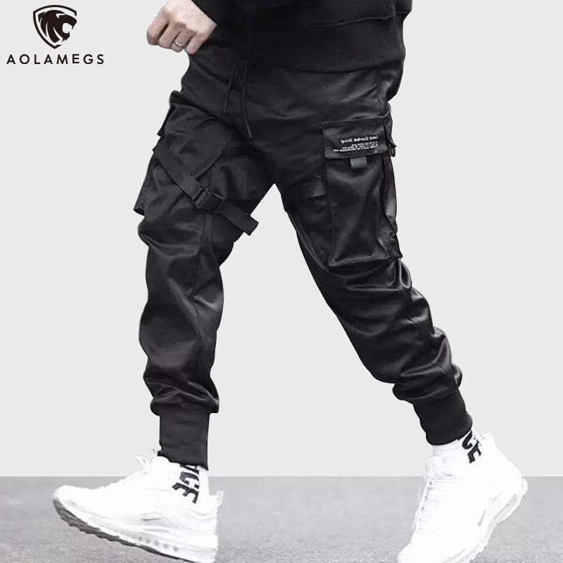 Aolamegs Sweatpants  Solid Color Men Pants Elastic Waist Drawstring Multi-Pocket Cargo Pants Baggy High Street Style Streetwear