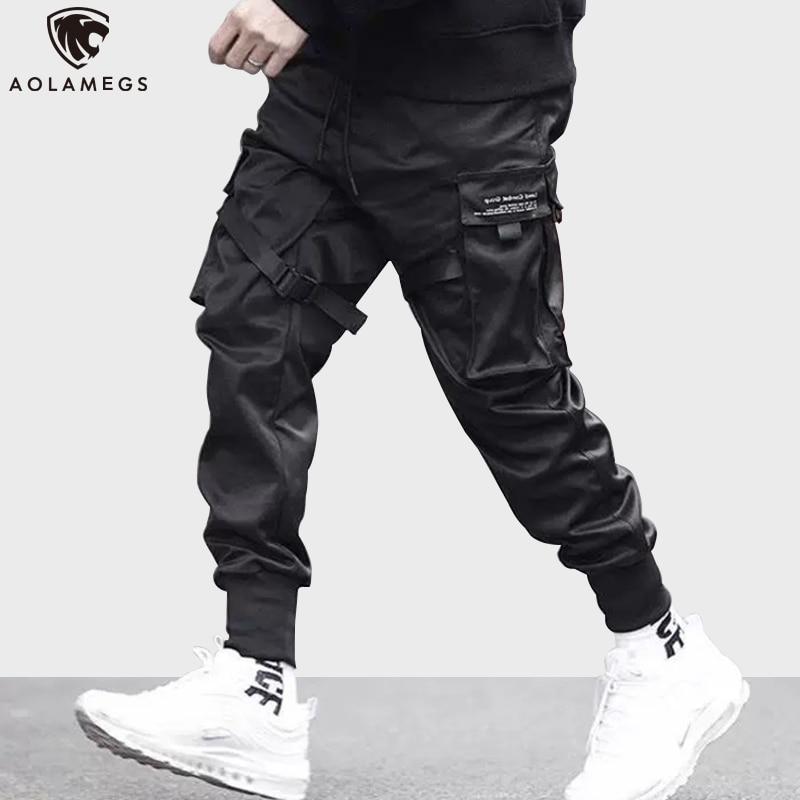 Aolamegs Sweatpants  Solid Color Men Pants Elastic Waist Drawstring Multi-Pocket Cargo Pants Baggy High Street Style Streetwear