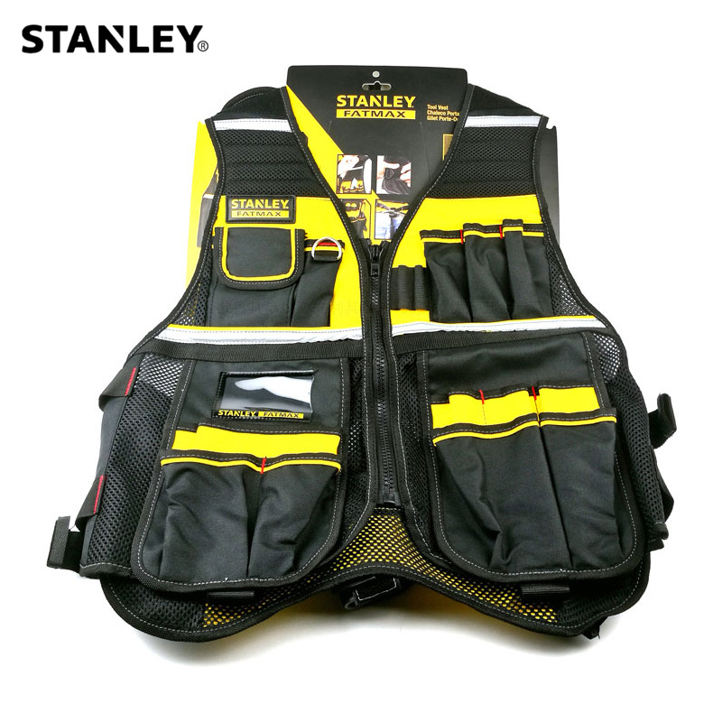 Stanley Fatmax multi pocket vest for tools in black yellow reflective safety strip adjustable strap workwear men work tool vests