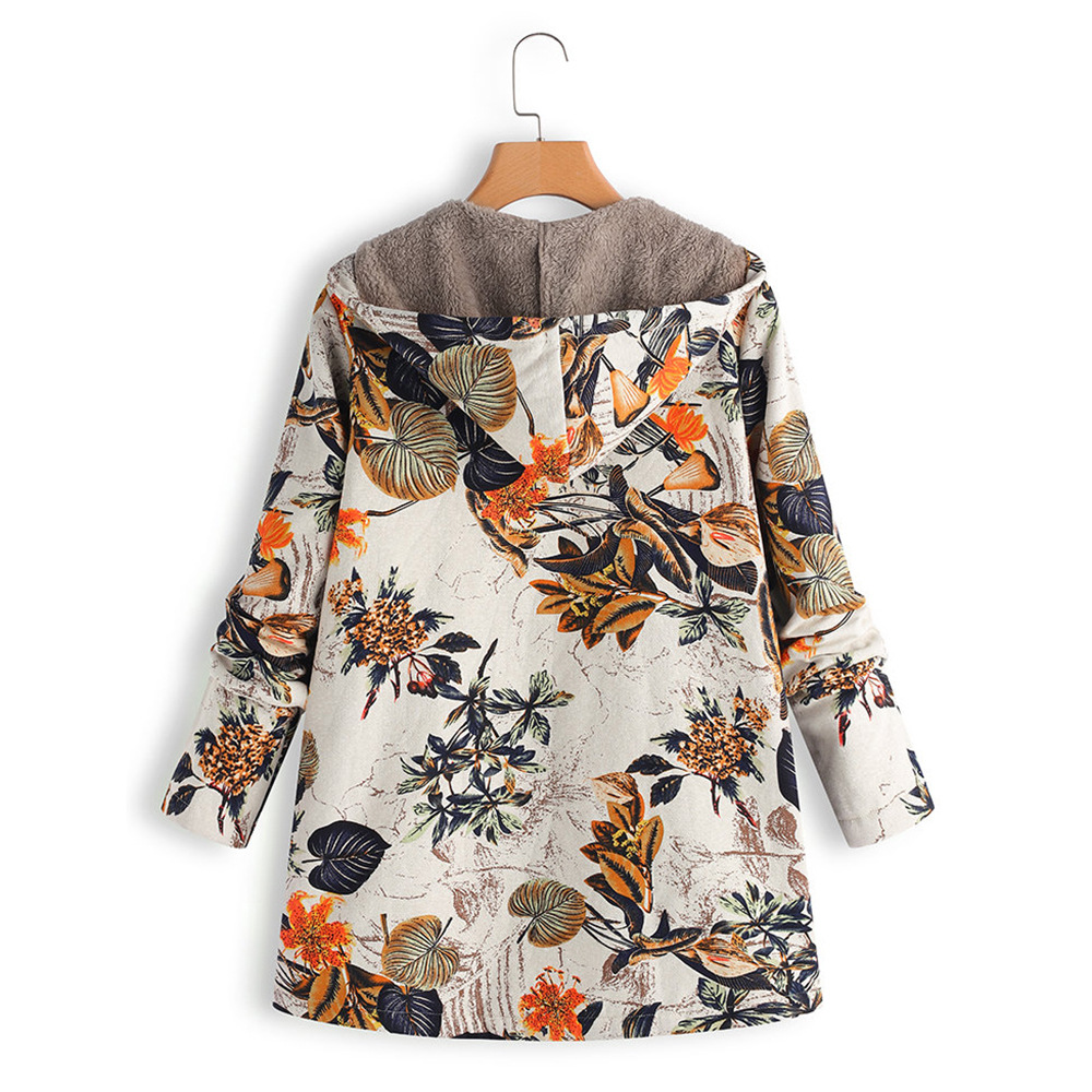 2020 New Women Winter Warm Floral Hooded Jacket Flower Print Hoody Vintage Oversized Coats Winter Padded Jacket Women Parkas