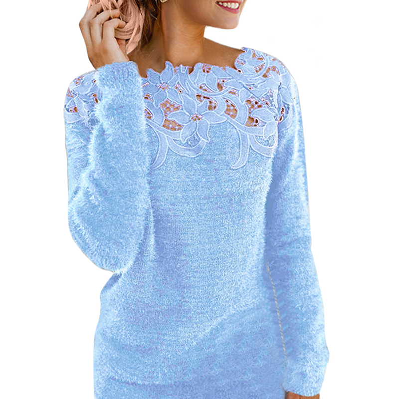 LOOZYKIT Women Slim Sweater Fashion Lace Neck Tops Long Sleeve Pullover Plus Size O Knitwear Top Floral Collar Winter