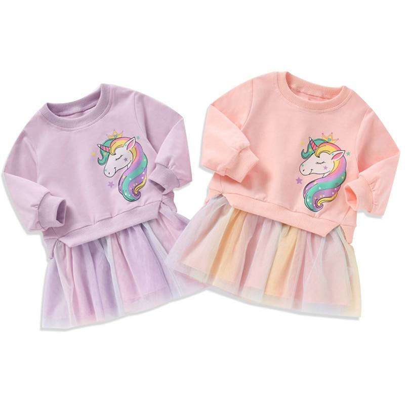 Girls Unicorn Dress Tops + Dress Kids Dresses For Girls Children Clothing Pattern Rainbow Girls Dress Winter Unicornio Vestido 2
