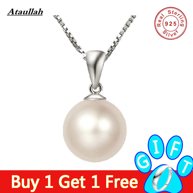 Fresh Water Pearl Necklace 925 Sterling Silver Chain Jewelry Shell Pearl WNW145