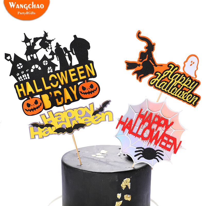 1 Set Funny Ghost Witch Pumpkin Bat Happy Halloween Cake Topper Kids Favors Props Party Supplies Decoration