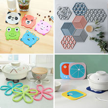 1 Pcs Silicone Dining Table Placemat Coaster Kitchen Accessories Mat Cup Bar Mug Cartoon Animal Owl Totoro Minions Drink Pads(China)