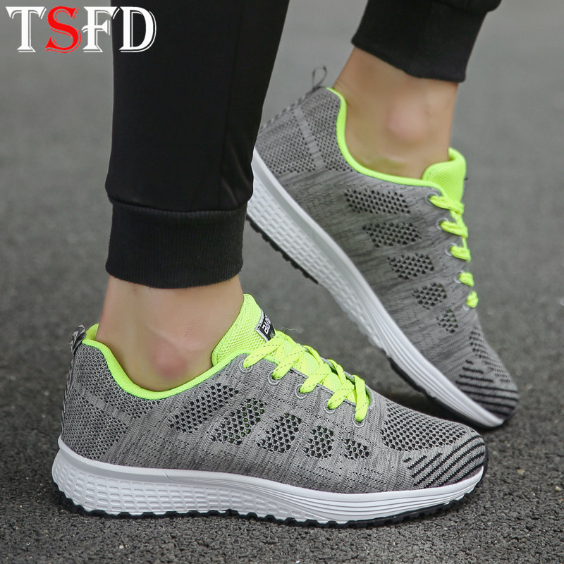 Mesh Shoes For Women Sneakers 2020 Low Top Sporty Women's Shoes Increase Running Shoe Lace Up Sports Shoe For Women Footwear V15