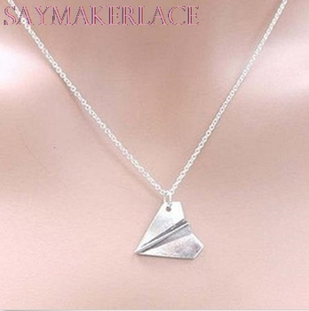 Paper Airplane Pendant Necklace Men Women Chain Collares Choker Necklaces Unisex Band Harry Styles Gold Jewelry image