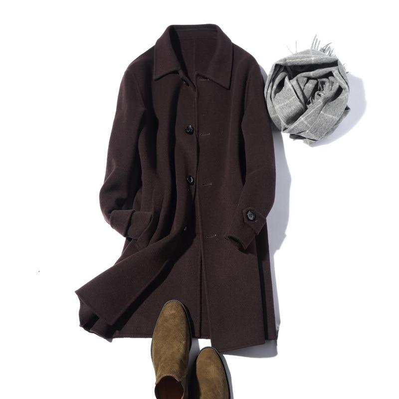100% Wool Autumn Winter Jacket Men Handmade Double-side Woolen Coats Streetwear Windbreaker Long Coat LM12-1000 MY1260